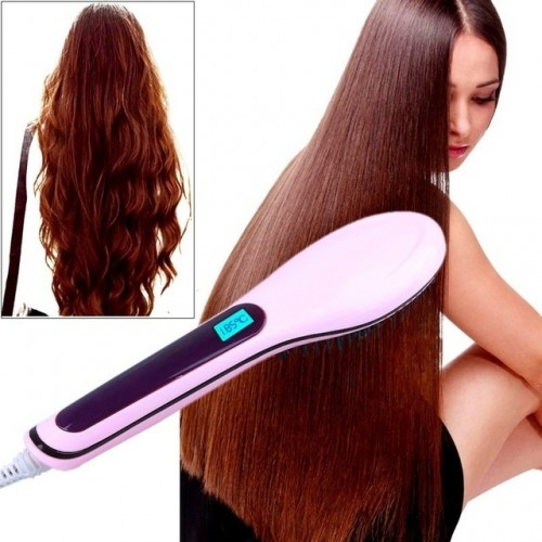 Electric Fast Hair Straightener Comb LCD Iron Brush Auto Hair Massager Tool New