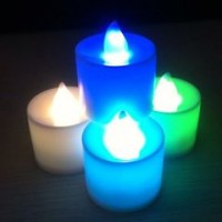 Colorful LED Smokeless Candles Shaped Small Flashing Night Light