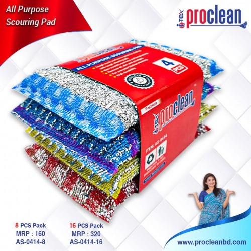 Scouring Pads For Pots/Non- Scratch Cleaning For Pans, Dishes, Utensils & Non-Stick Cookware, Home Kitchen Cleaning Sponges, 16 Pcs Pack_AS-0414