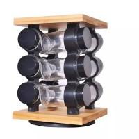 Kitchen 12 Jars Spice Rack Set- Wooden & Glass