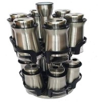 Stainless Steel and Glass Revolving Spice Rack with 12pcs Jars