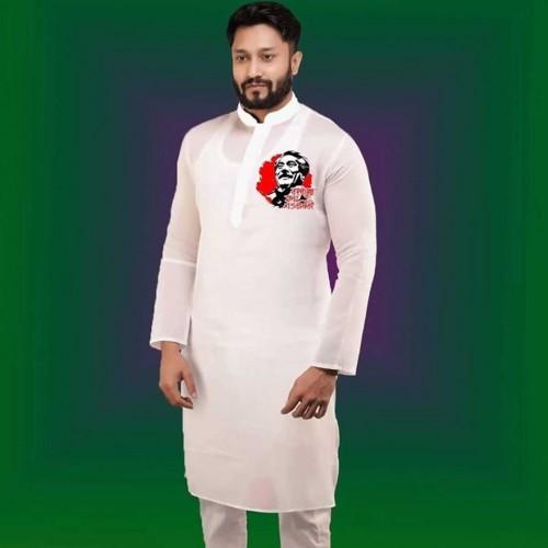 Printed Men's Semi Long Punjabi