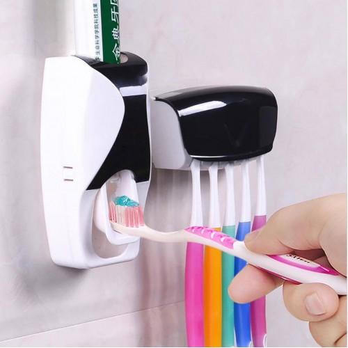 toothpaste dispenser with brush holder